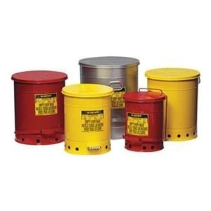 Justrite® 6 gal Oily Waste Can, Sound-Guard Quiet, Foot Operated
