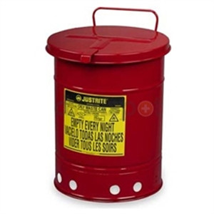 Justrite® 6 gal Oily Waste Can, Hand Operated Cover, Red or Yellow