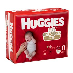 Newborn Diapers, up to 10 lbs, for Hospital's Only, 24 per pack, 12 packs per case