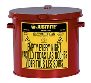 Justrite® 10 gal Countertop Oily Waste Can, Hand Operated Cover