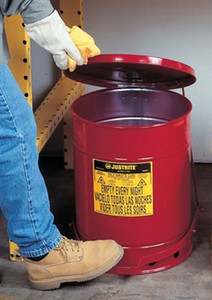 Justrite® 10 gal Oily Waste Can, Foot Operated Cover, Red or Yellow