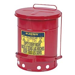 Justrite® Oily Waste Can, 14 gal, Foot Operated Cover