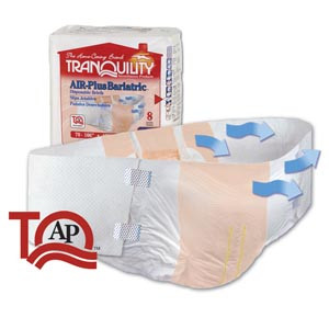 "AIR-Plus Bariatric Briefs, 70""-106"", Capacity 34 fl oz, 8 per pack, 4 packs per case"