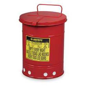 Justrite® Oily Waste Can, 14 gal, Hand Operated Cover, Red or Yellow