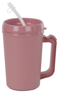 Insulated Mug with Straw, 34 oz, Rose, 24 per case
