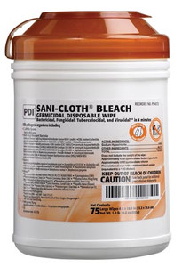 """Bleach Germicidal Disposable Wipe, Large, 6"""" x 10-1/2"""", 75/canister, 12can per case"""