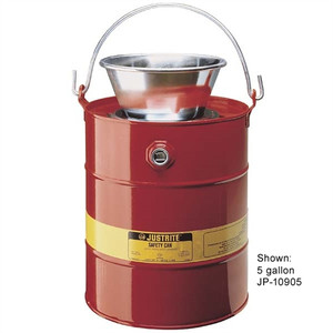 Justrite 10905 Safety Can, 5 gallon Steel Drain Can with Funnel