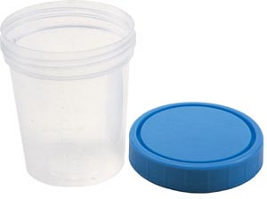 Specimen Container, Screw On Lid, 4 oz, Non-Sterile, 25 per sleeve, 20sleeves per case