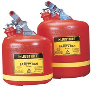 Justrite Type I Oval Safety Can, Polyethylene with SS Hardware, 2.5 gallon, Red