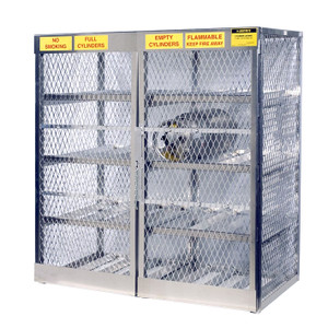 Horizontal Gas Cylinder Storage Locker, Aluminum, 16 Cylinders