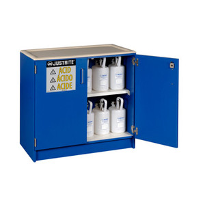 Justrite® Wood Laminate Acid and Corrosive Cabinet, 90 Liter, Blue