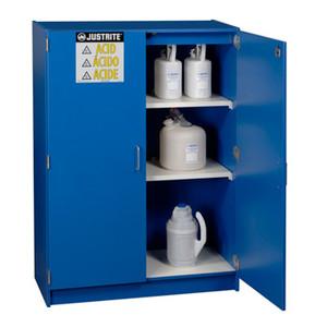 Justrite® Wood Laminate Acid, Corrosive Cabinet 122.5 Liter Blue