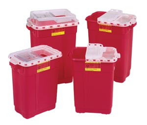 Sharps Collector, 9 Gal, Slide Top, Red, 8 per case