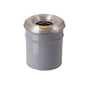 Justrite® Steel Cease-Fire Drum, Aluminum Head, Grill, 4.5 gal