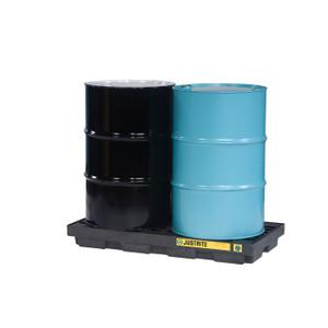 Justrite EcoPolyBlend Accumulation Center, 2 Drum, Recycled Polyethylene, Black