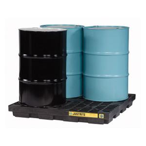 Justrite EcoPolyBlend Accumulation Center, 4 Drum, Recycled Polyethylene, Black