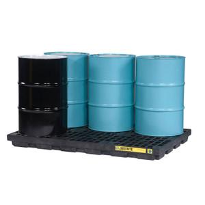 Justrite EcoPolyBlend Accumulation Center, 6 Drum, Recycled Polyethylene, Black