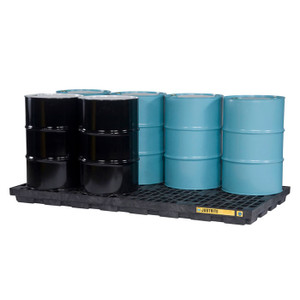 Justrite EcoPolyBlend Accumulation Center, 8 Drum, Recycled Polyethylene, Black