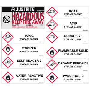 Replacement/ Retrofit Label Pack For Hazardous Material Cabinets