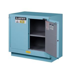ChemCor Under Fume Hood Corrosives/Acids Safety Cabinet, 23 Gallon, 2 Self-Close Doors, Blue