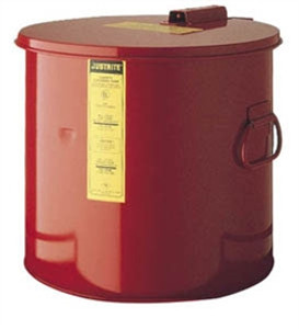 Justrite 2 gallon Steel Wash Tank with Basket, Round