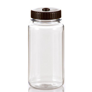 1000mL Clear PC Centrifuge Flask Wide Mouth Autoclavable with 63mm Black PP Cap, case/48