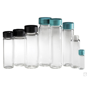 27.75mm x 95mm, 10 dram Clear Borosilicate Glass Vial with 24-400 Green PP Hole Cap & PTFE / PTFE/Silicone Septa, case/144