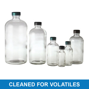 8oz Clear Glass Boston Round with 24-400 Black PP Cap & PTFE Disc, Cleaned & Certified for Volatiles, case/108