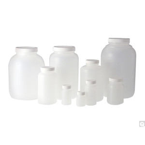 128oz (3,840mL) HDPE Collared Wide Mouth Round with 89-400 White Metal Pulp/PE Lined Cap, case/4