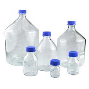 250mL Graduated Clear Borosilicate Glass Media Bottle with GL45 Blue Screw Cap, case/10