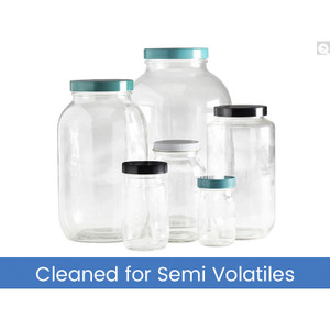 8oz (240mL) Clear Glass Standard Wide Mouth with 58-400 Black PP Cap & PTFE Disc, Cleaned & Certified for Semi-Volatiles, case/12
