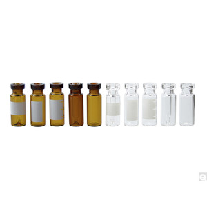 18 x 32mm 2mL Clear Borosilicate Standard Opening Crimp Top Vial with 11mm neck finish & Blue Graduation Spot, case/1000