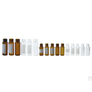 12 x 32mm 2mL Amber Borosilicate Screw Thread Vial with 8-425 neck finish & Yellow Graduation Spot, case/1000