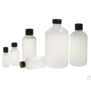 16oz (480mL) Natural LDPE Boston Round with 28-400 Neck Finish, Bottle Only, case/140