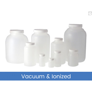128oz (3,840mL) HDPE Collared Wide Mouth Round with 89-400 Black Phenolic Solid PE Lined Cap, Vacuum & Ionized, case/4