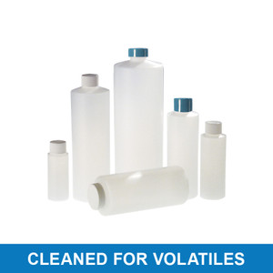 8oz Natural HDPE Cylinder with 24-410 White PP SturdeeSeal PE Foam Lined Cap, Cleaned & Certified for Volatiles, case/48