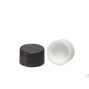 38-439 White Ribbed Polypropylene Cap with F422 HDPE Foam Liner, case/1200