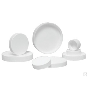 48-400 White Ribbed Polypropylene Cap with SturdeeSeal® PE Foam Liner, case/2500