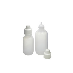 2oz (60mL) Natural LDPE Boston Round with 18mm White Polypropylene Dropper and Nasal Cap, case/12