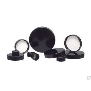 13-425 Black Ribbed Phenolic Cap with Pulp/Vinyl Liner, case/16600