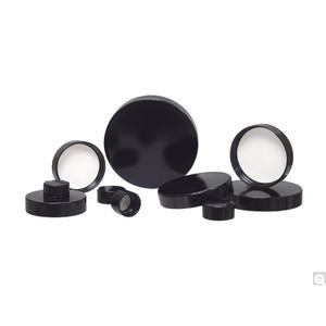 15-425 Black Ribbed Phenolic Cap with Pulp/Vinyl Liner, case/12600