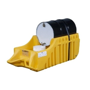 Justrite® Outdoor Spill Containment Drum Caddy, Strap-Yellow