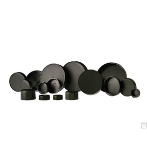 45-400 Black Ribbed Polypropylene Unlined Cap, case/2000