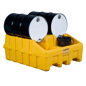 Justrite® Stacking System Base, 2-Drums, Yellow