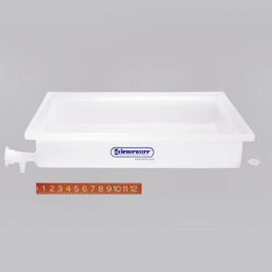"""Lab Tray with Faucet, Rugged LDPE, 12"""" x 16"""" x 3"""""""