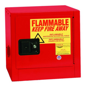 Bench Top Flammable Liquid Safety Cabinet, 2 Gallon, 1 Shelf, 1 Door, Manual Close, Red
