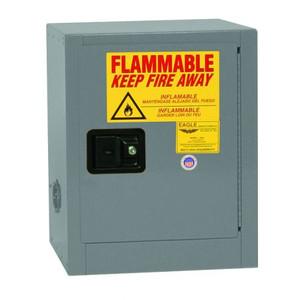 Bench Top Flammable Liquid Safety Cabinet, 4 Gallon, 1 Shelf, 1 Door, Manual Close, Gray