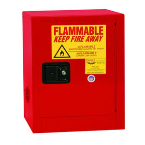 Bench Top Flammable Liquid Safety Cabinet, 4 Gallon, 1 Shelf, 1 Door, Manual Close, Red