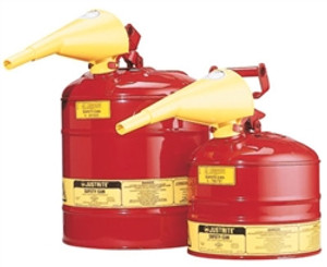 Justrite® Type I Steel Safety Can with Funnel, 2.5 gallon, Red