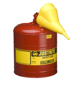 Justrite® Type I Steel Safety Can for flammables with Funnel, 5 gallon, Red